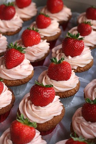 Strawberry Cupcakes...I have so many strawberry cake recipes on here..I'm obsessed.. but they're all a little different so that makes it okay