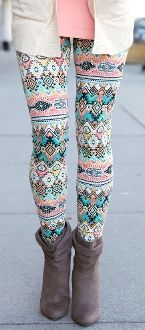 Coral & Mint Aztec Print Leggings $15.99!! Perfect for your Valentines Day plans!!