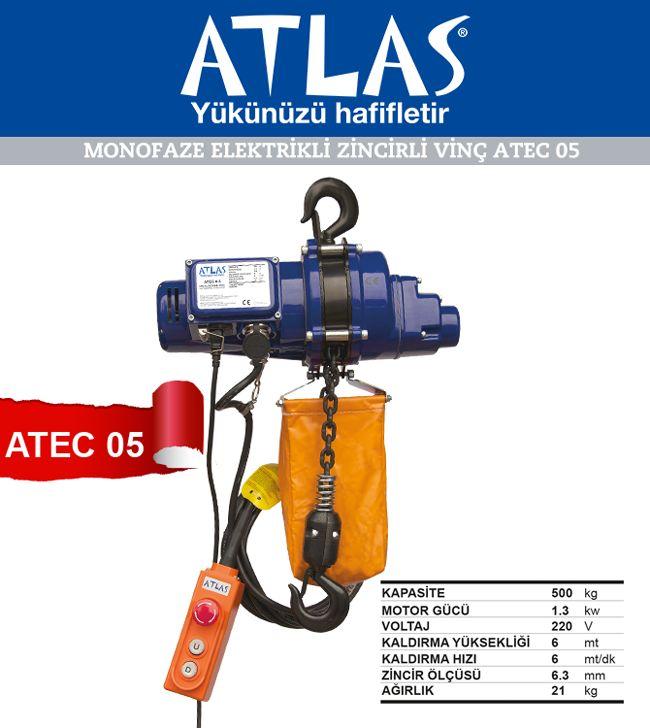 Yeni model ATEC 05 elektrikli zincirli vinç. Elektrikli vinç yarım ton taşıma kapasiteli mini vinçtir. Vinç 220 V elektrik ile çalışmaktadır. Dolayısı ile profesyonel 380V vinçler gibi kullanılması önerilmez. Elektrikli vinç 1 saat içerisinde 20 dakikadan fazla kullanılmamalıdır. Vinç her kullanım sonrası 3 dakika dinlendirilmeli motorunun soğutulması beklenmelidir.  http://www.ozkardeslermakina.com/urun/vincler-elektrikli-vinc-atlas-zincirli-atec-05/
