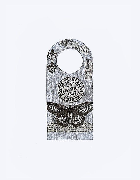 French country wooden door knob hanger. Rustic black by MewAndMew