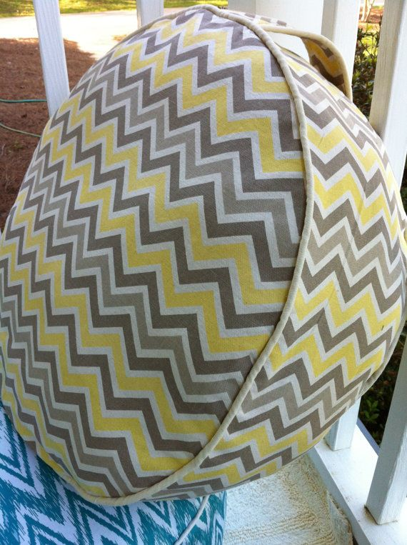 Gray Yellow Chevron Pouf Cover By SewingforAdoptions On Etsy 4000