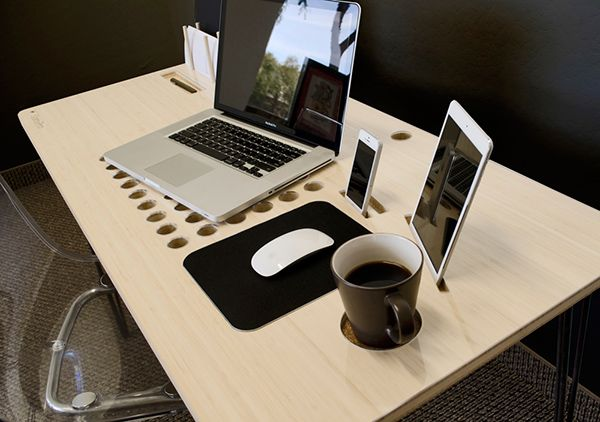 A perfect desk to hold all your gadgets - and coffee too! #desk #organization #YankoDesign