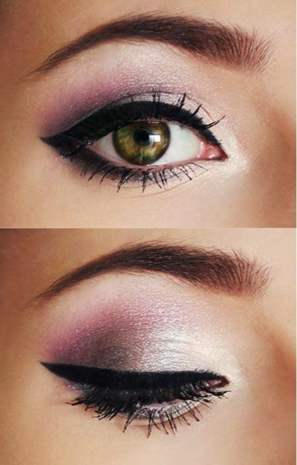 make up tipps augen schwarzer eyer liner rosa lidschatten