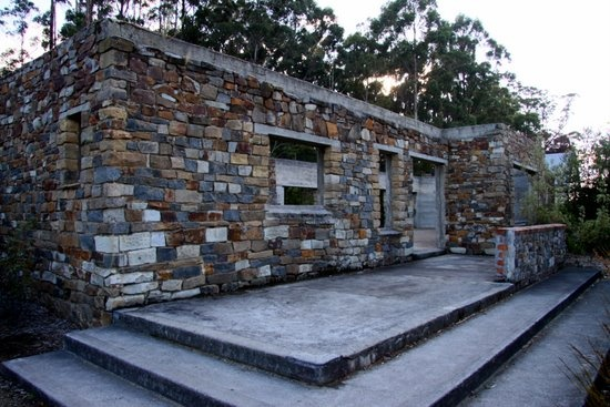 The remaining shell of the former Broad Arrow Cafe, site of most of the killings during the Port Arthur Massacre 1996. The former cafe now forms part of the memorial garden.