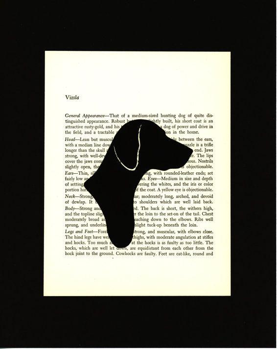 Gift idea for Karl: Vizsla  Handcut Silhouette Mounted on Vintage Dog by elizaBcrafts, $20.00