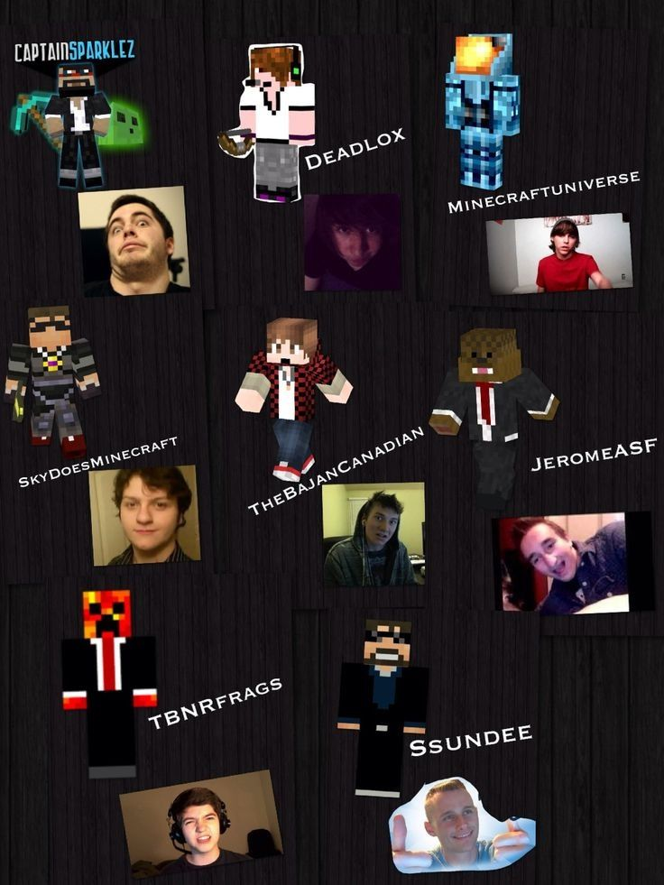 YAY! All the minecraft youtubers in your screen! Skin and actual picture! Enjoy... :D benjacanada , ASFJerome , Preston or TBNRfrags , and more!