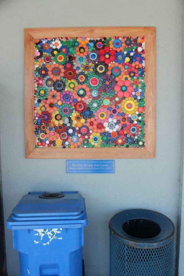 Bottle Cap Mural - I love the interesting patterns here. It is so lively - I prefer this to repetitive symmetry. I am dreaming of creating such a mural on the face of a bottle brick wall. @BetsyTeutsch #100under100