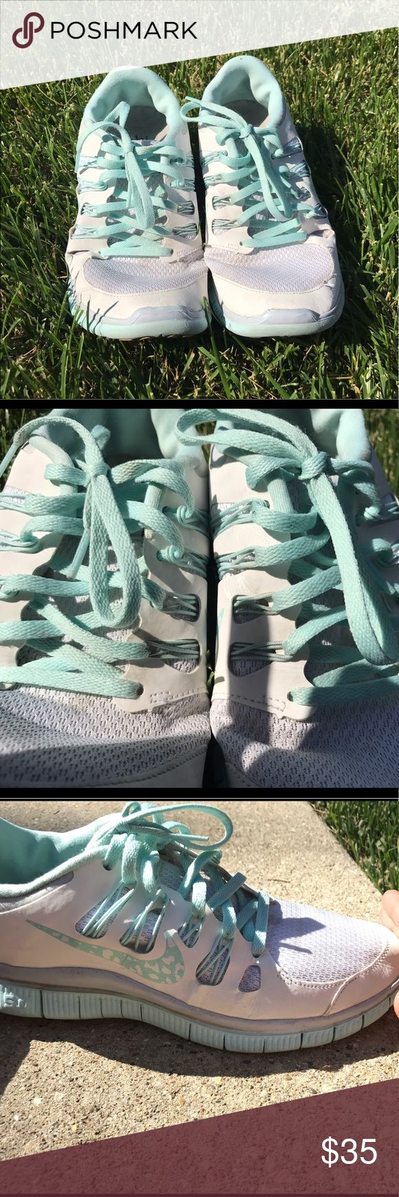 8.5 Nike Tiffany blue free run 5.0 5.0 free run Tiffany blue Nike tennis shoes. Size 8.5 Nike Shoes Athletic Shoes