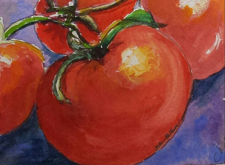 Watercolor of cherry tomatoes.  140lb Arches paper.