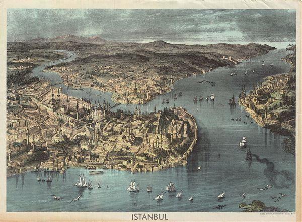 1890 Guzel Sanatlar Matbaasi Turkish View of Istanbul
