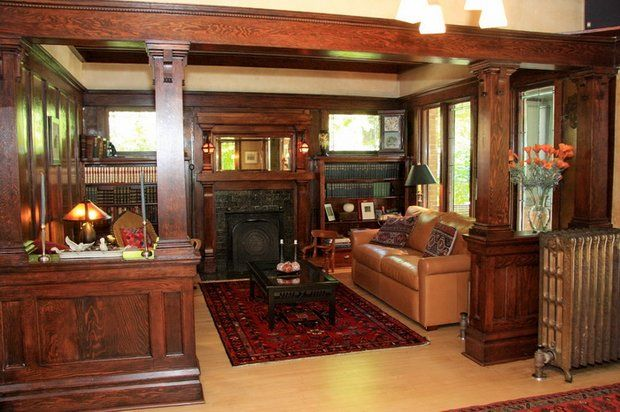 20 best craftsman living rooms images on pinterest for Craftsman style office