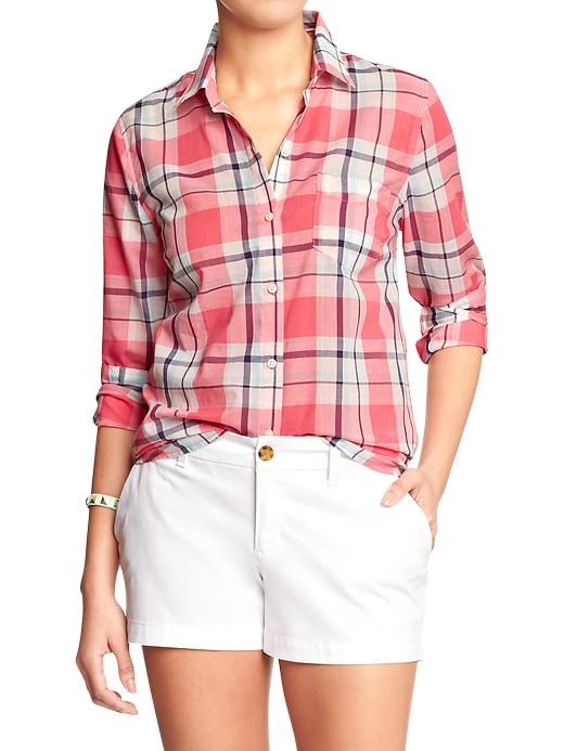 $24.94 Old Navy Womens Plaid Shirts - Happy coral plaid #fashion #clothes #shirts