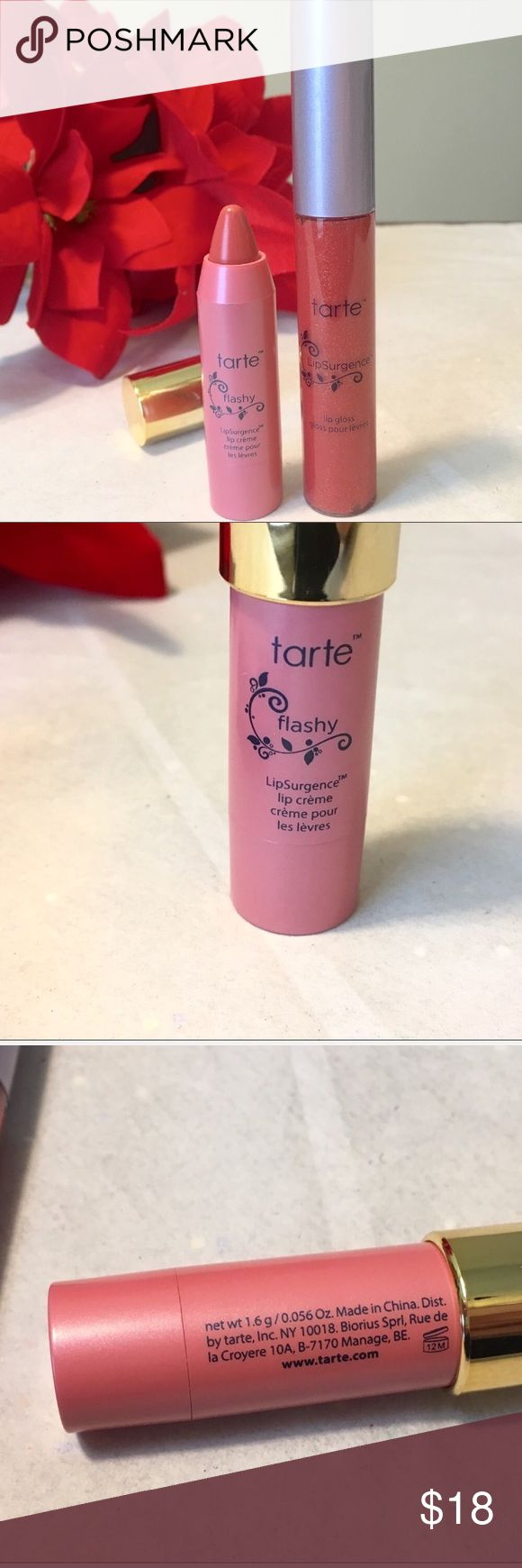 Tarte LipSurgence Set NEW New but no box Tarte LipSurgence Set  includes a full size LipSurgence Gloss and a deluxe travel size LipSurgence™ lip tint (my absolute favorite) never used or swatch No trade please tarte Makeup Lipstick