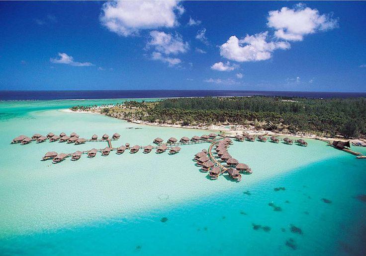 Bora Bora Pearl Beach Resort and Spa from the air.