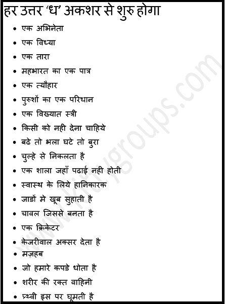 ध से धरना: Simple Hindi Written Kitty Party Game