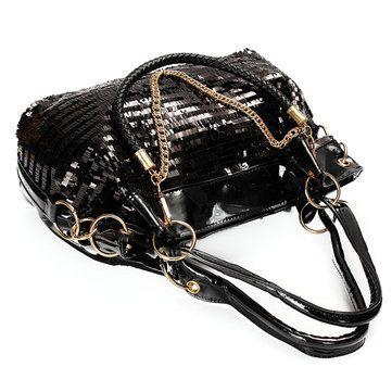 Women Luxury Paillette Patent-Leather Handbag Casual Large Crossbody Shoulder Ba - US$34.09