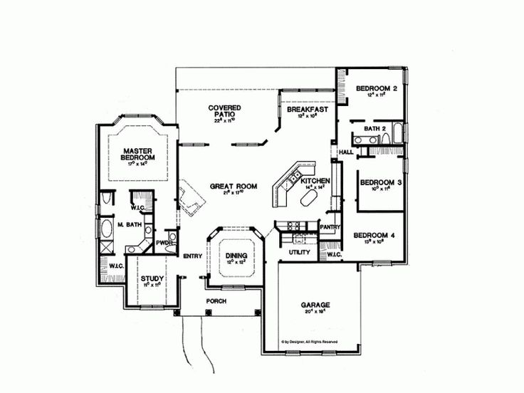 House plans 2500 square feet for the home pinterest - Single story four bedroom house plans ...