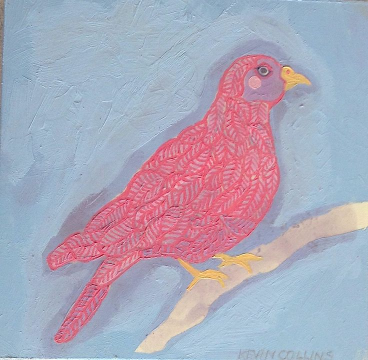 'Red Pigeon' oil on board 20 x 20cm