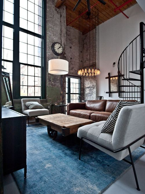 Best 25 industrial living rooms ideas on pinterest for Industrial chic living room