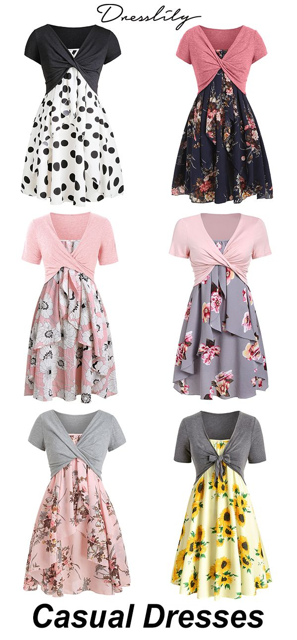 Dresslily Casual Dress With Front Knot Top Dresslily Dresses Casual Dresses Casual Dress Womens Dresses