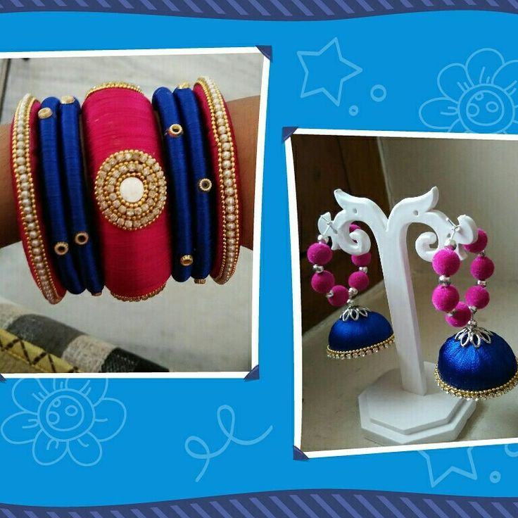 Silk thread earrings  and bangles Colours can be customized To order whatsapp 8790245879