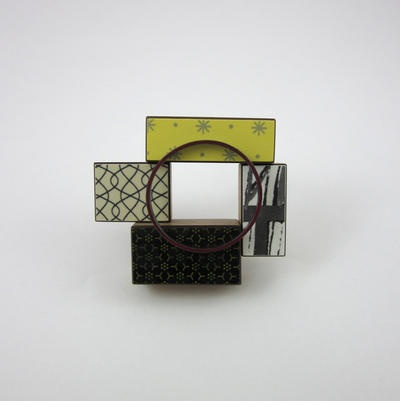 Katy Hackney  Brooch with 4 blocks and 1 circle  2012  bamboo, plywood, formica, metals, enamel  W:8cm H:6.5cm