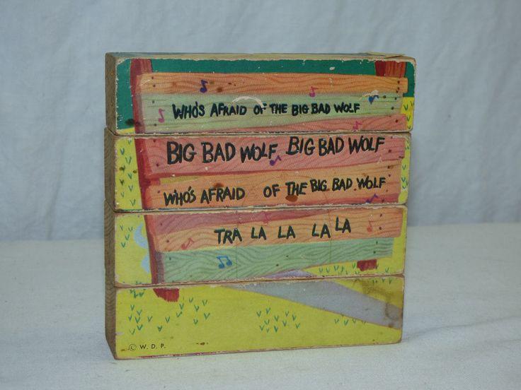 Vintage Old 1960s Walt Disney Wooden Block Puzzle Three Little Pigs Big Bad Wolf