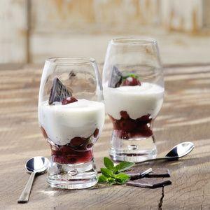 Joghurt-Mint-Creme auf Kirschen