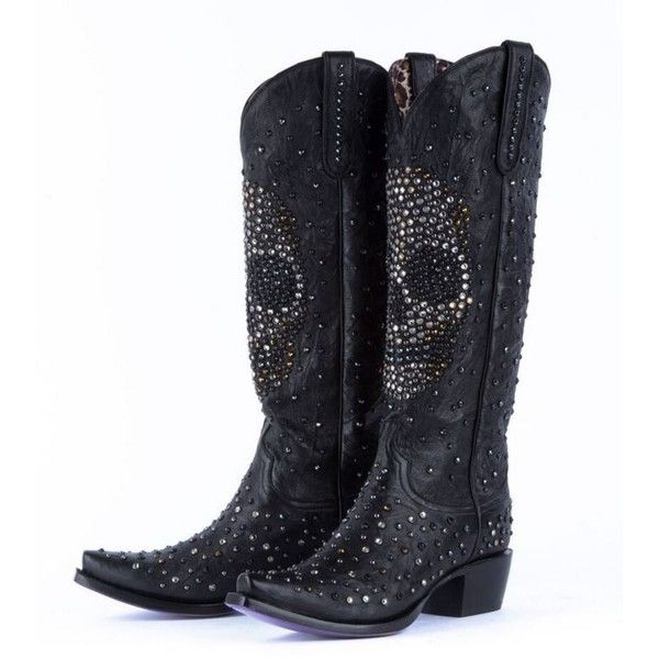 Cosmic Skull Swarovski Crystal Boots - swarovski crystals, black,... ($1,025) ❤ liked on Polyvore featuring shoes, boots, skull boots, western boots, galaxy boots, western shoes and black cowgirl boots