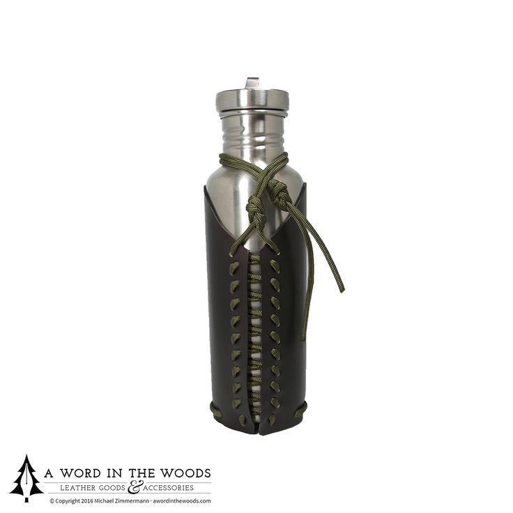 "Have a Klean Kanteen? Love it? Don't hide it inside a backpack, strap it to the outside where you can actually get to it. Made from durable leather, and laced with 72"" of paracord for all your apocalyptic needs."