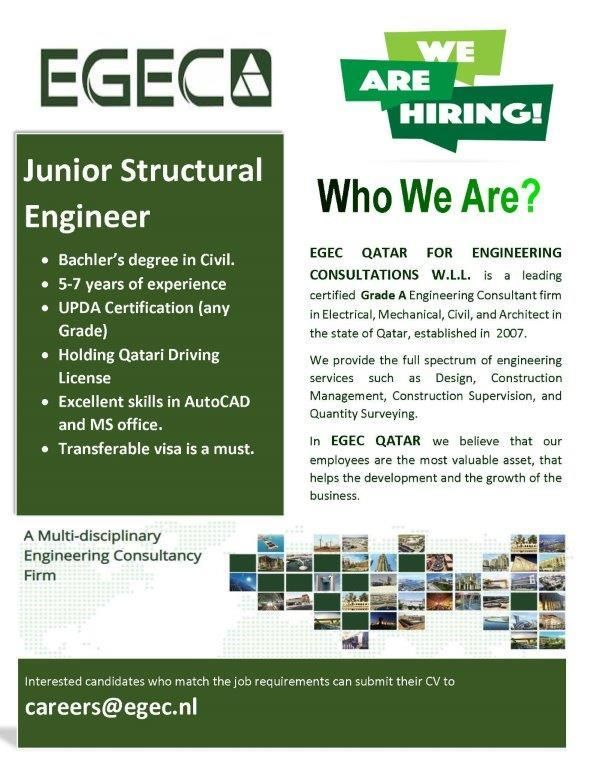 Structural Engineer Qatar Openings In 2020 Structural Engineering Engineering Job Opening