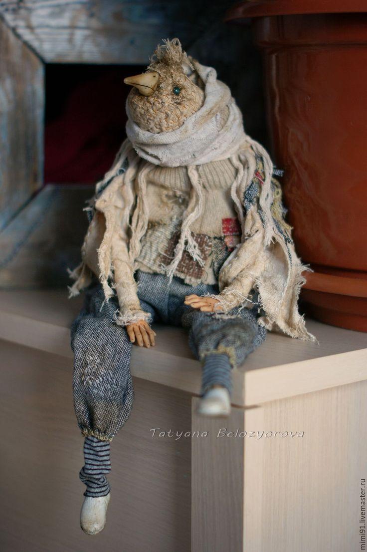 Купить Птица Кайро - комбинированный, птица, боро, арт текстиль, текстильная кукла, Будуарная кукла