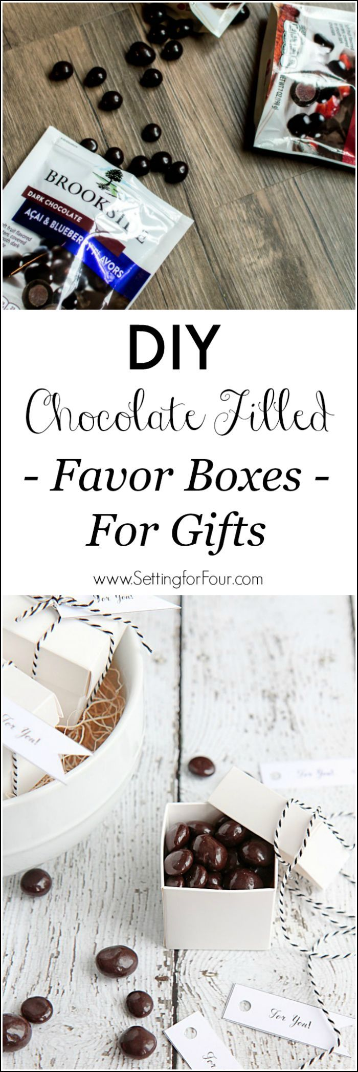 Learn how to make these adorable DIY Chocolate Filled Favor Boxes for Gifts! See the quick and easy tutorial! These chocolatey mini favor boxes make perfect, yummy gift idea for the holidays, teacher gifts, thank you gifts as well as wedding and party favors. #ad