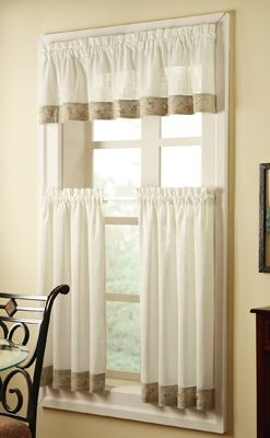 Kitchen Curtains? Oakwood Cafe Curtains w/ Floral Trim