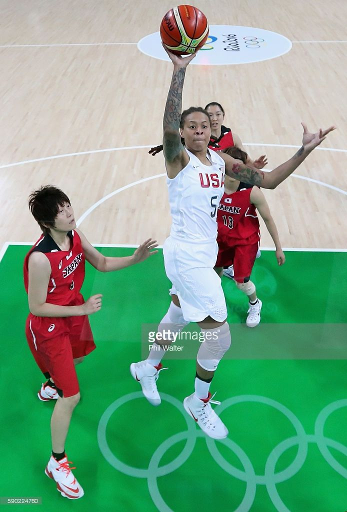 Seimone Augustus #5 of United States shoots during the Women's Quarterfinal match against Japan on Day 11 of the Rio 2016 Olympic Games at Carioca Arena 1 on August 16, 2016 in Rio de Janeiro, Brazil.
