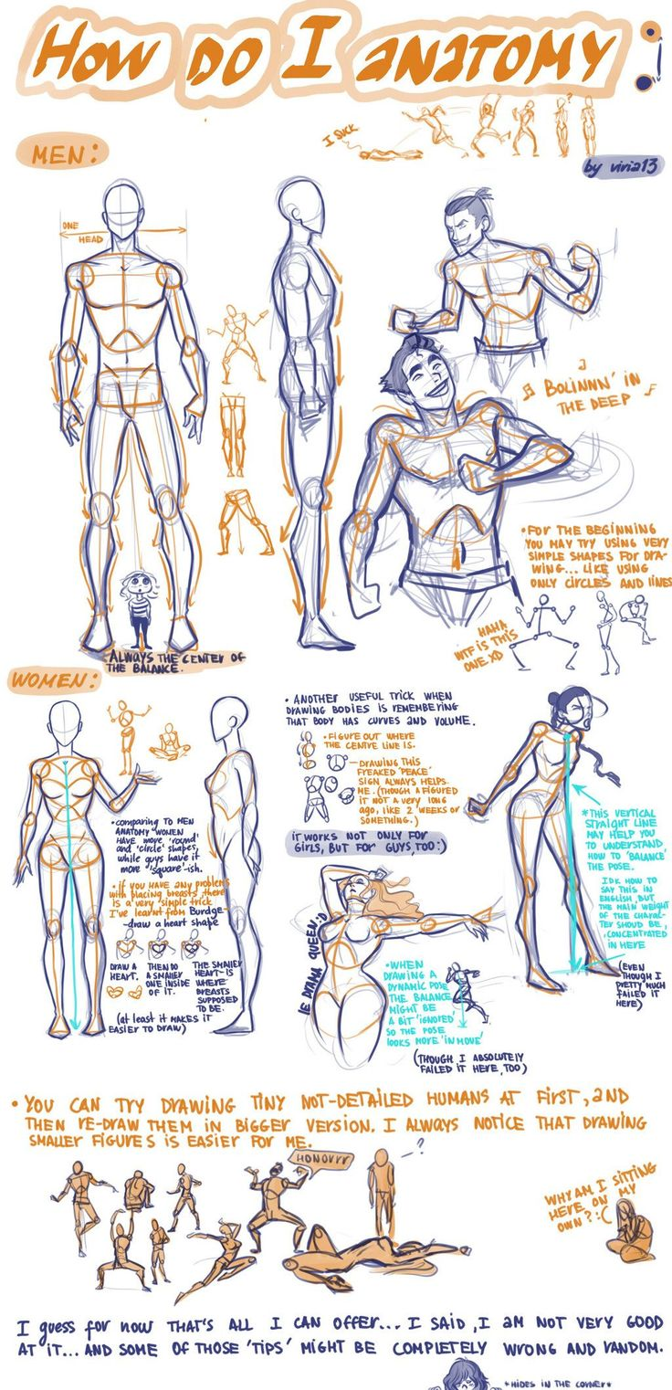 An excellent figure drawing tutorial by viria13.deviantart.com (p.s. if you are a fan of A.T.L.A., Korra, or Harry Potter check out her awesome fan drawings) #Anatomytutorial