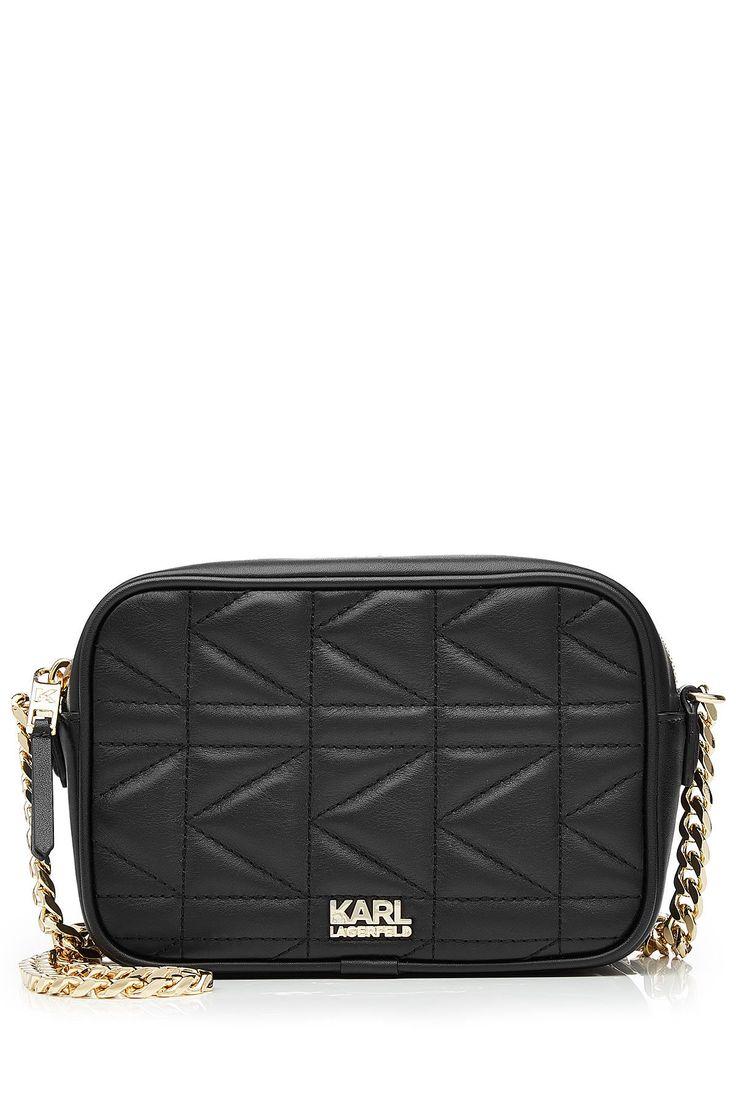 Karl Lagerfeld Quilted Leather Shoulder Bag