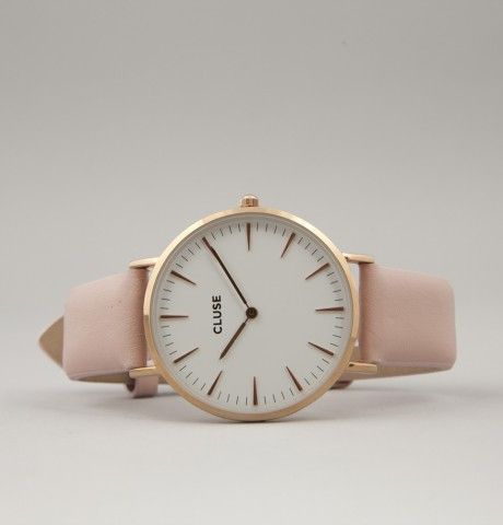 Cluse analogue watch nude pink leather white dial