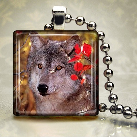 Autumn Wolf Glass Tile Pendant LWA6 by freetobemecreations