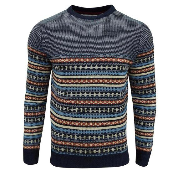 Soul Star Men's Stifler Nordic Striped Knitted Sweater Navy