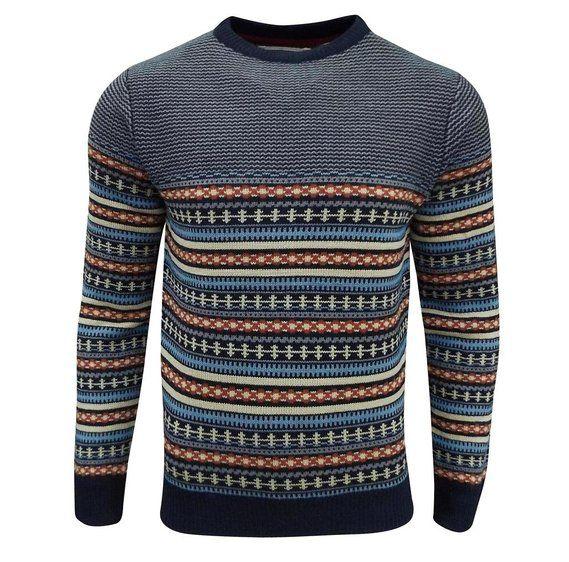 Soul Star Men's Stifler Nordic Striped Knitted Sweater Navy