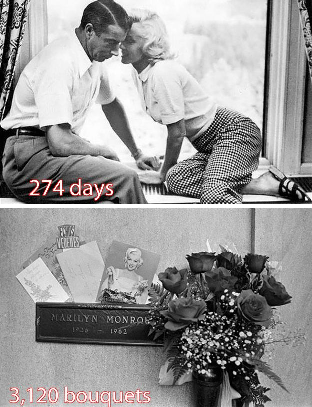 "6. When Joe loved Marilyn.    Although their marriage only lasted for a volatile 274 days, baseball player ""Joltin'"" Joe DiMaggio remained devoted to Marilyn Monroe. He never remarried, and after her death, he sent red roses to her grave in Los Angeles three times a week for the next 20 years."