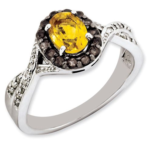 0.8 ct Sterling Silver Citrine and Smokey Quartz and Diamond Ring for $149.97