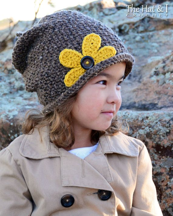 CROCHET PATTERN - Pretty Petals Slouchy - hat with daisy-like flower & ties at top in 3 sizes (Toddler, Child, Adult) - Instant PDF Download