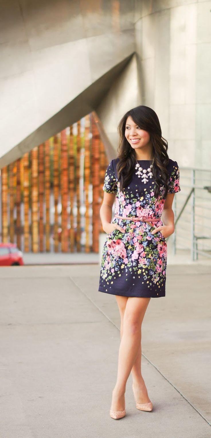 Floral dress - the pink flowers really stand out on the navy dress