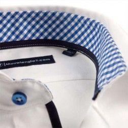 Wit overhemd mouwlengte 7 met blauwe ruit in de boord. Meest populair in de collectie. Modern Fit, 100% katoen, licht getailleerd.
