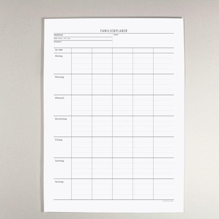 Der Familien-Wochenplaner bietet, mit seinen fünf Namens-Spalten, Raum für eine übersichtliche Woche.Ob als Block auf dem Tisch oder Wochenblatt an der Wand – ein Hingucker für die ganze Familie.Der Planer ist zum selbst datieren und dadurch jahresunabhängig und je nach Bedarf verwendbar.Gedruckt in Deutschland.Design: Kleinwaren / von LaufenbergUmfang: 50 BlattFormat: 420 x 297 mm (A3)Papier: 100 g/qm RecyclingpapierDruck: OffsetDer Familien Wochenplaner wurde in einer Druckerei ge...