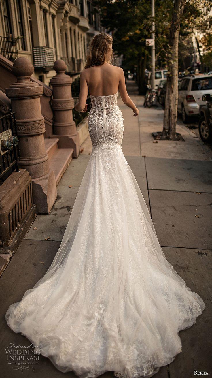 berta fall 2017 bridal strapless sweetheart neckline bustier heavily embellished bodice romantic sexy mermaid wedding dress long train (007) bv