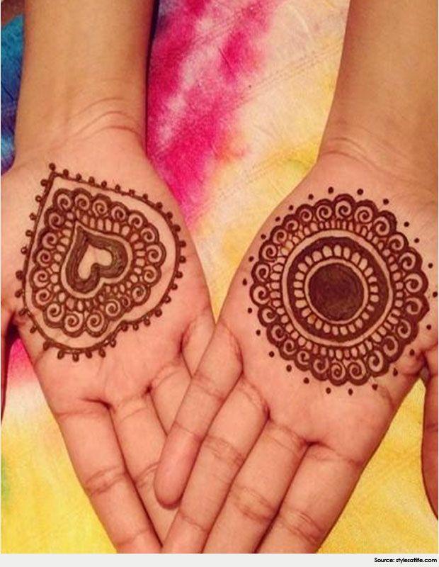 Heart Shaped Round Mehndi design