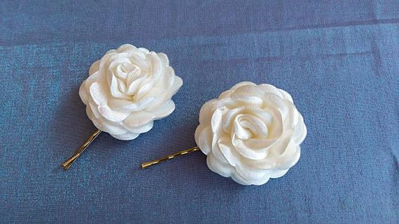 Beautiful accessories Hair Pins with Ivory Satin  Flowers